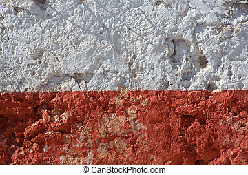 Aged whitewashed wall with red grunge paint wheatered