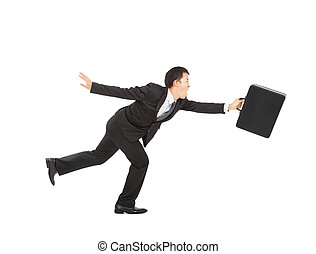 Businessman running on white background