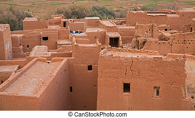 Top of adobe (construction material) houses in morocco
