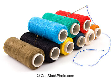 colorful spools of thread - Set of colorful spools of thread...