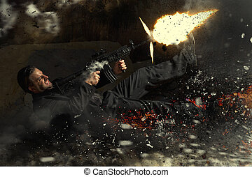 contract killer agent character in action - View of a...