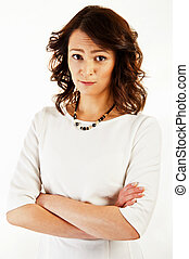Woman on white background with sad face