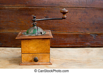 retro old coffee grinder in vintage wood - retro old coffee...