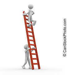 Ladder - 3d people - man, person is helping another to climb...