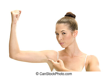 white woman pointing her muscles