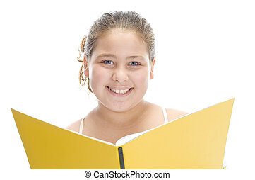 smiling girl with book on an isolated background