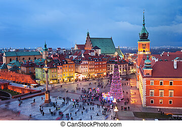 Old Town in Warsaw at Evening - Beautiful Old Town of Warsaw...
