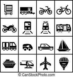 Vector transportation icons isolated on white - Vector black...