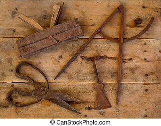 Aged tools wood planer wool scissors drawing compass