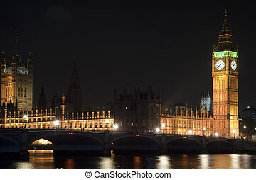 Houses of Parliament, Big Ben and Westminster Bridge at night in London