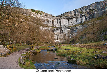 Malham Beck and Malham Cove in Yorkshire Dales National Park