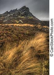 Landscape of Ramshaw Rocks in Autumn in Peak District...