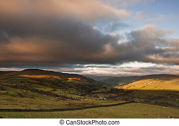 View along Swaledale valley towards Gunnerside in Yorkshire...