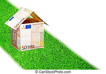Euro money house on a road from grass