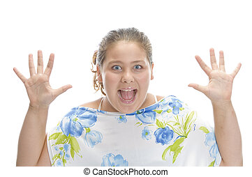 surprised young girl against white background