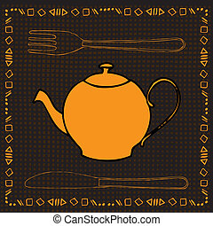 tea time - breakfast label with tea pot, fork, knife and...
