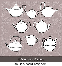 collection of tea pots - black and white original drawing of...