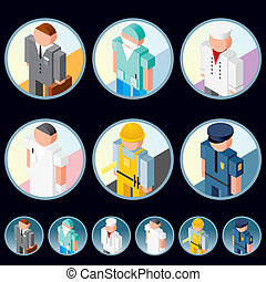 People Occupation Icons Isometric Vector Images - People...