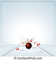 Bowling Strike. Ball Crashing into the Skittles - Bowling...