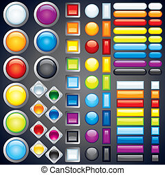 Collection of Web Buttons, Icons, Bars Vector Image - Large...