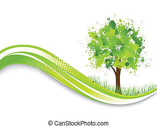 Background with abstract green tree. Spring illustration