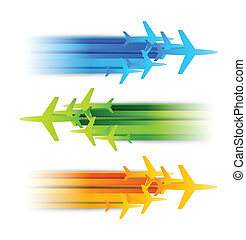 Set of banners with airplanes. Abstract illustration