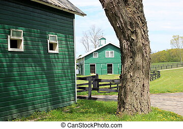 Green barns on rural farmland - Green barns and other...