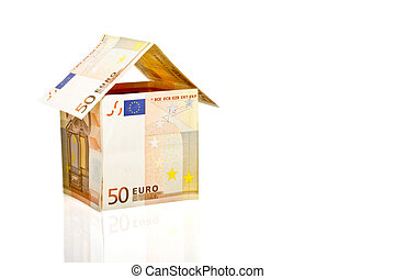 House from euro paper currency