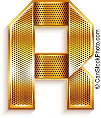 Letter metal gold ribbon - R