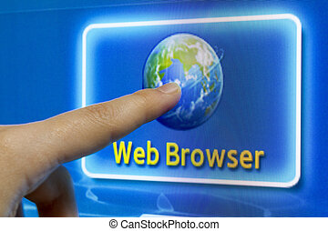 Finger touch screen to connect internet web browser