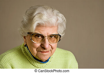 Senior lady portrait, smiling - Senior lady portrait,...