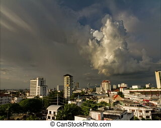 Chiang Mai Timelapse - Building storm clouds Timelapse over...