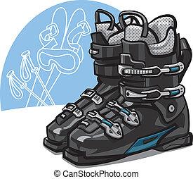 ski boots - pair of new black ski boots