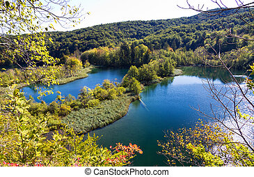 Plitvice lakes - Beautiful view on a couple of lakes in...