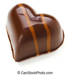 Praline - Heart shaped Chocolate Praline on a white...