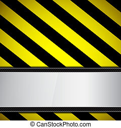 Metal frame on warning stripe EPS10 vector