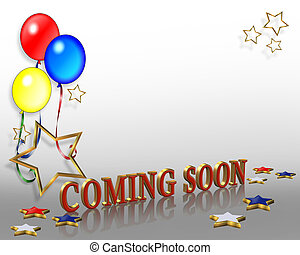 Coming Soon Balloons Background - Illustration composition...