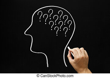 Questions Concept Blackboard - Hand drawing Human head and...