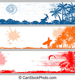 Tropical summer banners - Grunge tropical summer banners...