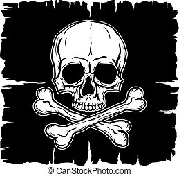 Skull and Crossbones over black flag. Freehand drawing.