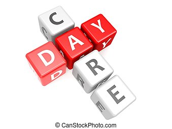 Day care in cube - Rendered artwork with white background