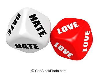Love hate dices - Rendered artwork with white background