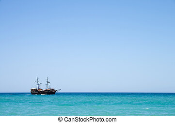 Pirate ship with tourists at sea in Crete, Greece - Pirate...