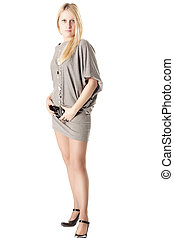 Blonde in short dress - Blonde girl in short grey dress...