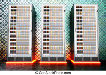 Metal Server room - A iron server room. 3D rendered...