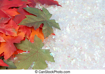 fall and winter - green and golden red autumn leaves in...