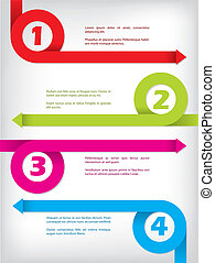 Curling color arrow infographic design - Numbered curling...