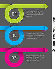 Infographic design on dark paper - Curling arrow set...