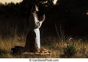 clássico, menina, orando, campo