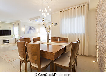 Dining Room - Modern dining room with decorative wall and HD...